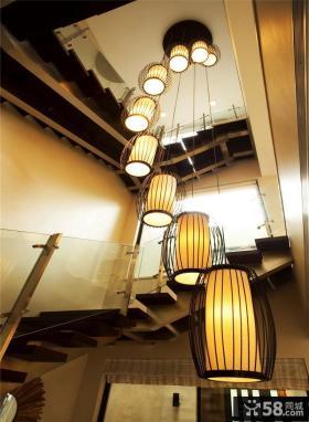 现代别墅样板间楼梯间灯饰图片
