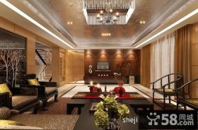 新中式别墅客厅电视背景墙装修效果图