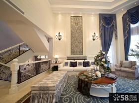欧式地中海风格别墅客厅装修效果图