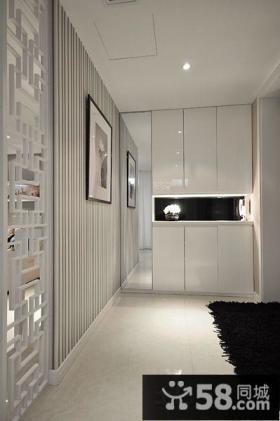 家居玄关白色鞋柜装饰效果图片