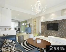 简约小户型客厅壁纸电视背景墙装修效果图