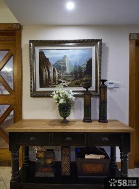 美式家居玄关桌装饰画图片