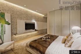 现代简约主卧室背景墙效果图