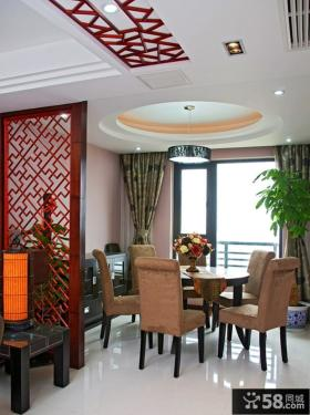 中式餐厅圆形吊顶效果图