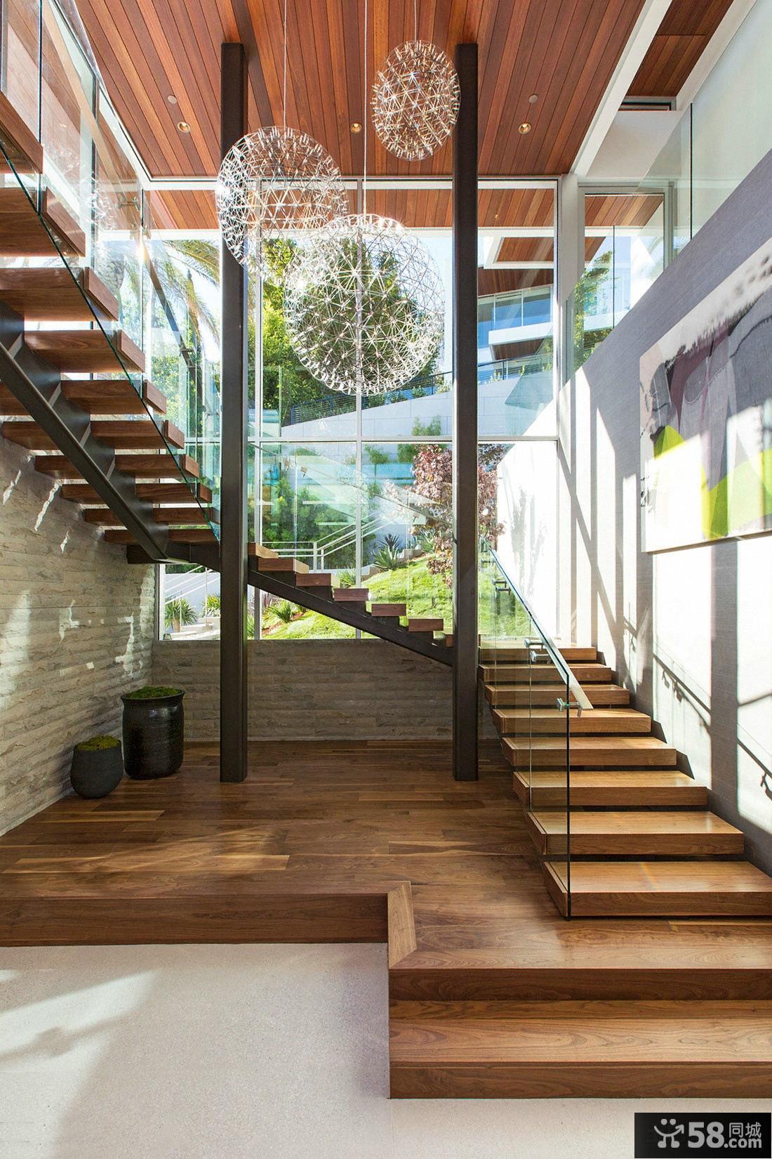 美式家居室内实木楼梯踏步图片