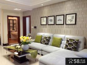 现代简约沙发背景墙装饰画图片