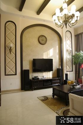 别墅客厅电视背景墙效果图大全图