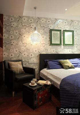 田园美式卧室床头墙纸吊灯图片