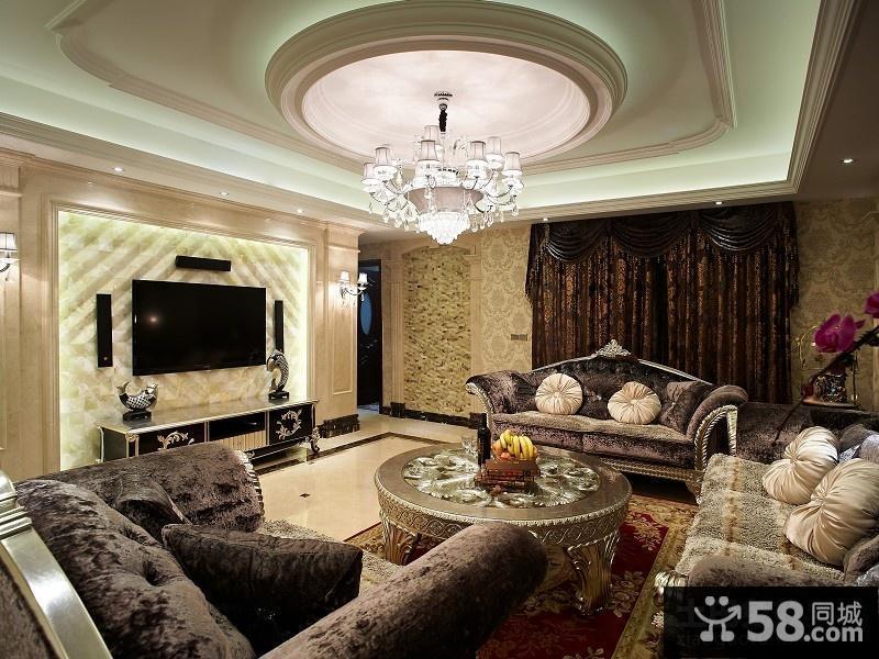 豪华欧式客厅吊顶装修效果图