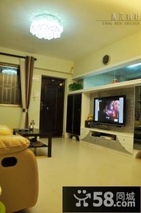 现代风格小户型家居装修客厅电视背景墙效果图