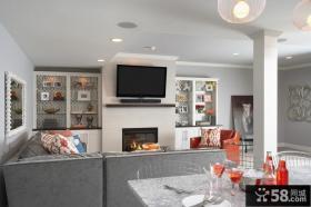欧式现代风格客厅背景墙装饰 客厅壁炉装修效果图