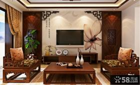中式风格客厅电视背景墙装修效果图大全2013图片