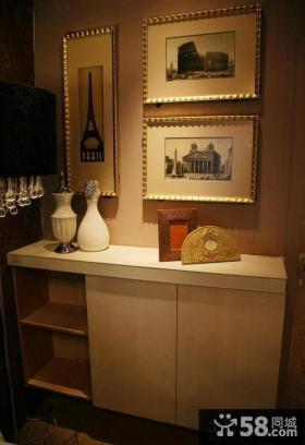 家居玄关鞋柜装饰画图片