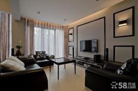 家庭客厅电视机背景墙设计效果图