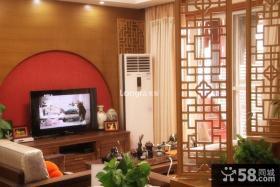 中式风格70平米小户型电视背景墙装修效果图