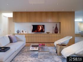 现代简约客厅简单装修效果图电视背景墙图片