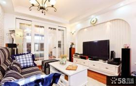 地中海风格客厅电视背景墙小户型装修图片