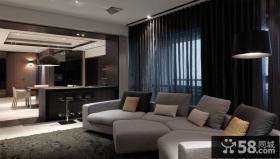 深色系大气会所式客厅设计