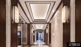 豪华中式别墅走廊吊顶装饰效果图