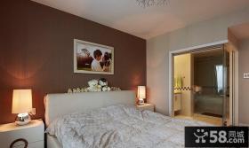 现代简约风格卧室床头背景墙图片