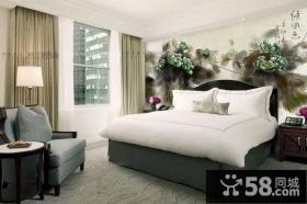 卧室背景墙装修 卧室床头手绘背景墙