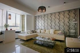 客厅沙发背景墙壁纸装修效果图片