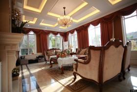 古典欧式风格别墅客厅吊顶效果图