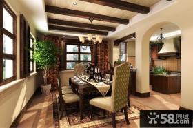 阳明谷美式风格别墅餐厅样板间