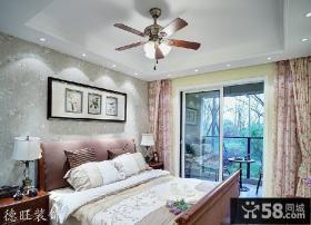 田园风格卧室带阳台装修效果图