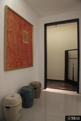 现代进门红色玄关画效果图