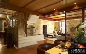 中式风格客厅室内楼梯装修效果图