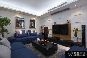 现代两居室客厅电视背景墙效果图欣赏