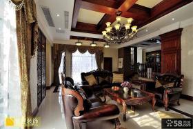 美式风格别墅客厅木梁吊顶效果图