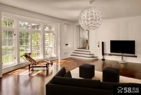 北欧复式客厅简单电视墙设计