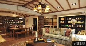 美式乡村居家客厅木吊顶装修效果图