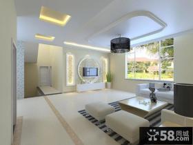 现代二居简约客厅吊顶装修效果图