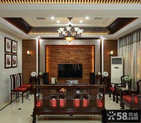 中式家装设计室内客厅电视背景墙图片