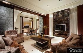 豪华美式设计客厅电视背景墙