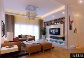 欧式小客厅电视背景墙装修效果图欣赏