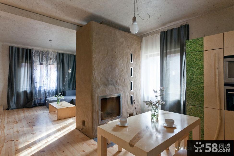 120平米原木复式楼餐厅设计图片