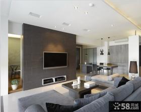 现代简约客厅电视背景墙隔断装修效果图