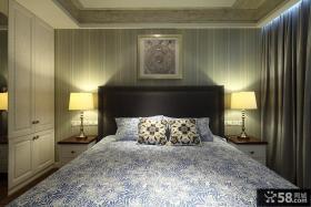 现代简约风格卧室床头壁纸背景墙装修设计效果图
