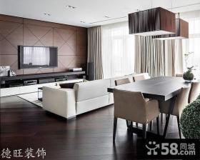 简约风格90平米二居客餐厅电视背景墙装修效果图