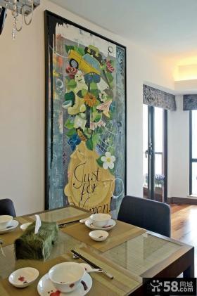 美式风格餐厅背景墙装饰画图片