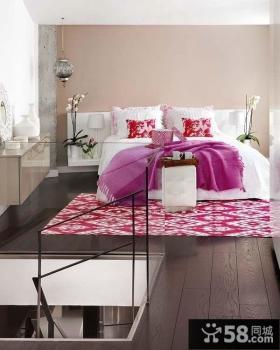 现代风格淡紫色卧室装修效果图