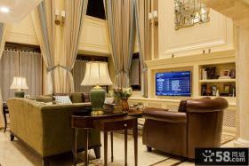 欧式风格别墅客厅窗帘装修效果图