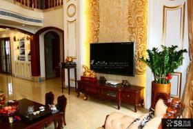 美式别墅客厅电视背景墙装修效果图