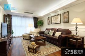 美式装修风格一居室家居客厅效果图大全2014