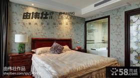 中式风格卧室墙面壁纸背景墙效果图