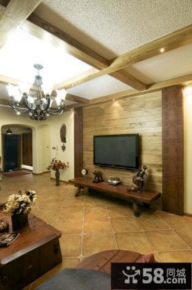 美式乡村风格客厅瓷砖装修效果图